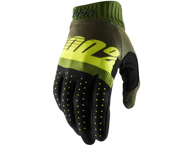 100% Ridefit FA18 Cykelhandsker, army green/fluo lime/fatigue